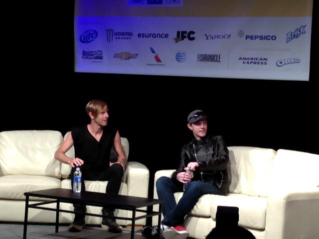Richie Hawtin interviews Deadmau5. (Courtesy of Jamieson Hill.)