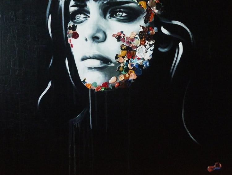 La Cage noire au printemps fleurissant, 30X40, acrylique, 2013.