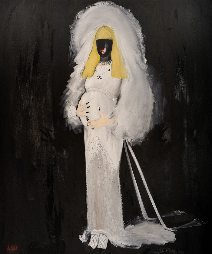 "Andrea Mary- Marshall, ""Self Portrait as the Virgin Surrogate: The Bride in Chanel,"" Oil on Canvas, 2011."