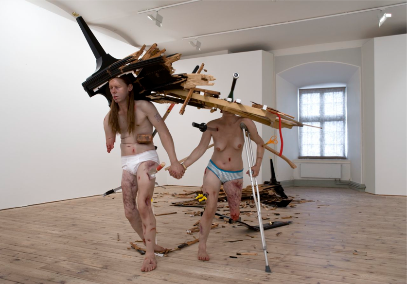 Fucked Couple, 2005, silicone, polyester, polyurethane, wood, steel, oil paint, hair, variable dimensions.