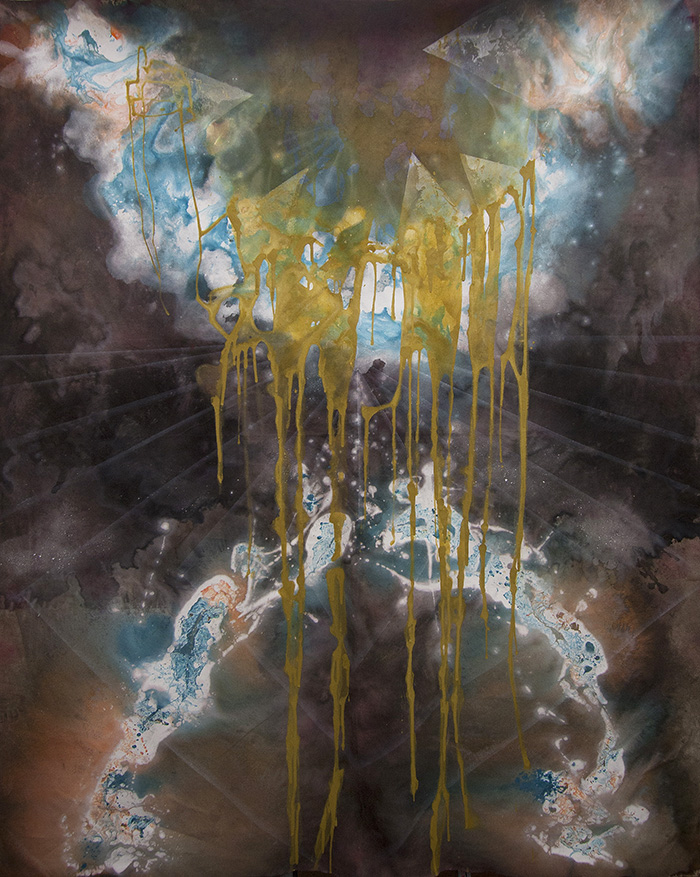 "Cosmic Filth, oil, acrylic and ink on canvas, 84"" x 60"", 2013. (Steven Briggs/Quiet Lunch Magazine.)"