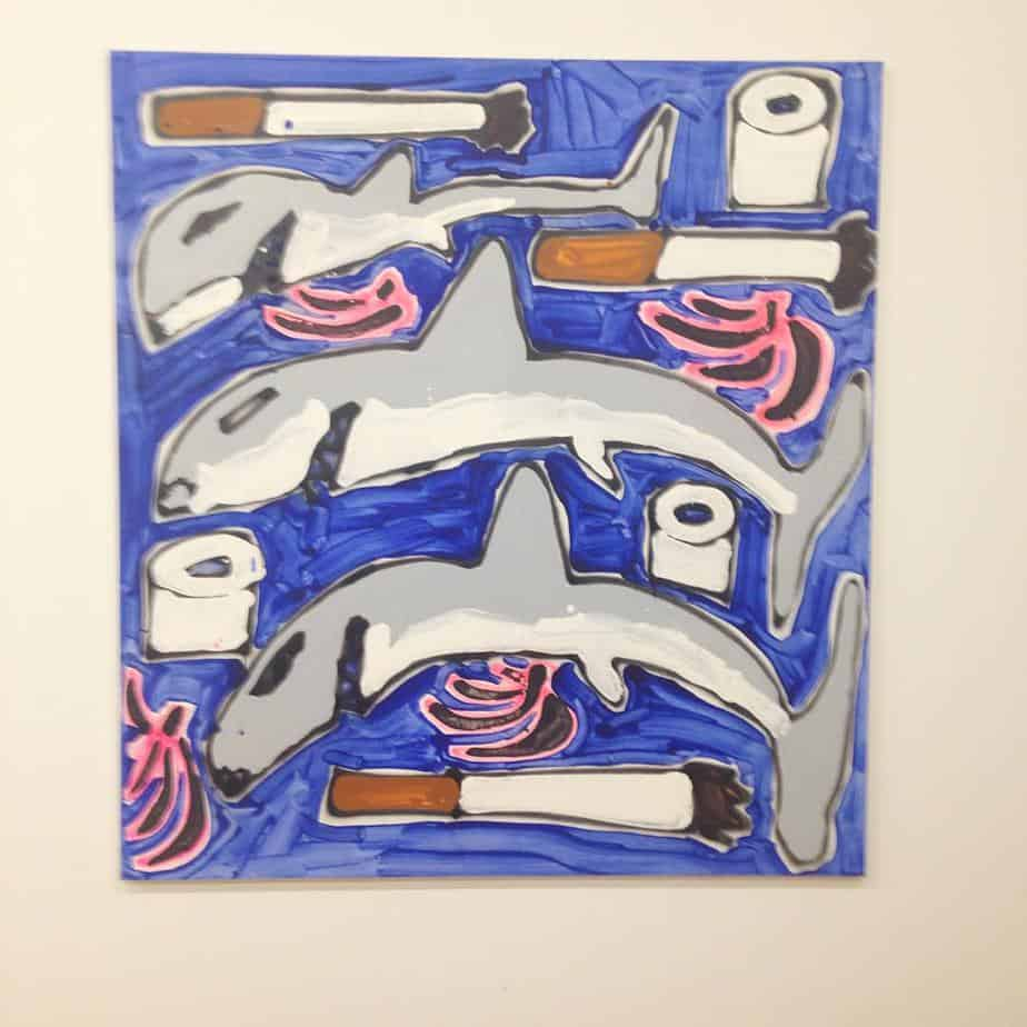 Sharks, Toilet Paper, and Plantains, 2015, acrylic and spray paint, 96 x 120 inches.