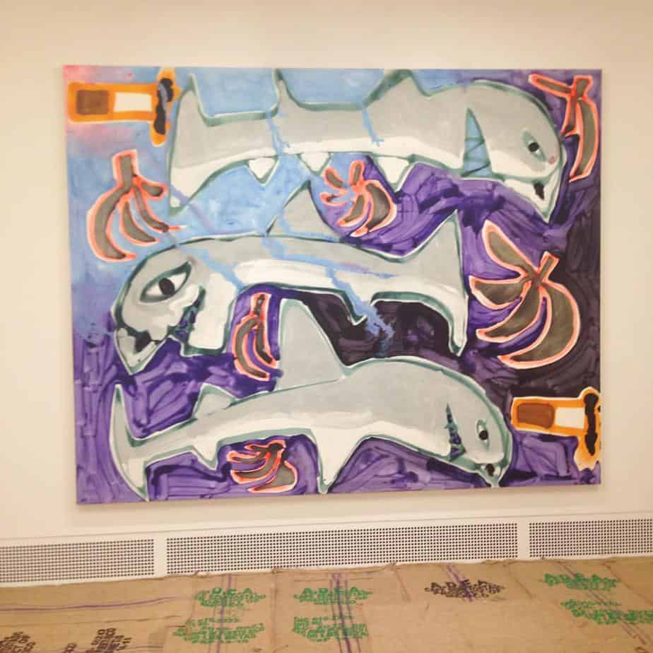 Sharks, Plantains, and Cigarettes, 2015, acrylic and spray paint, 96 x 120 inches.