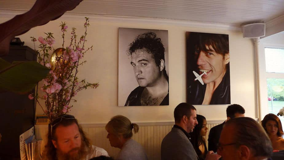 Belushi and Jagger (by Marcia Resnick) hanging out by the bar, Jue Lan Club, Southampton.