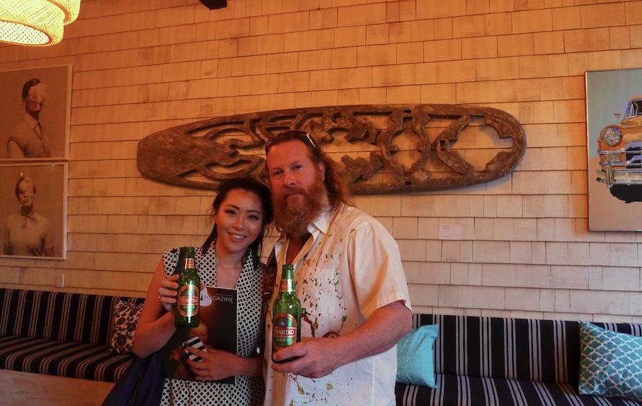 Tsingtao Rep Diane Chen and artist de la Haba.