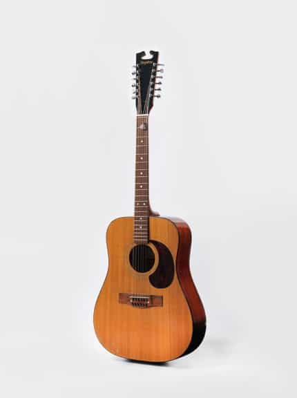 "David Bowie is, Brooklyn Museum of Art. Acoustic guitar from the ""Space Oddity"" era, 1969. Courtesy of The David Bowie Archive. Image © Victoria and Albert Museum"